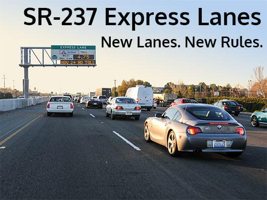 237 Express Lanes with cars and changeable message sign