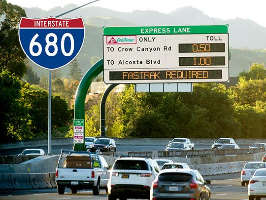 I-680 placard with express lanes sign