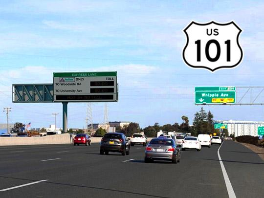 Photo of the US 101 in San Mateo with overhead sign