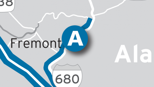 Location of I-680 Sunol Express Lane