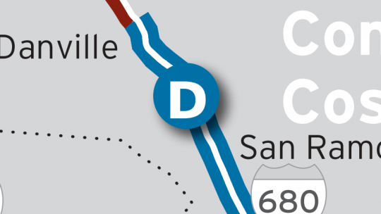 Location of I-680 Express Lanes on map
