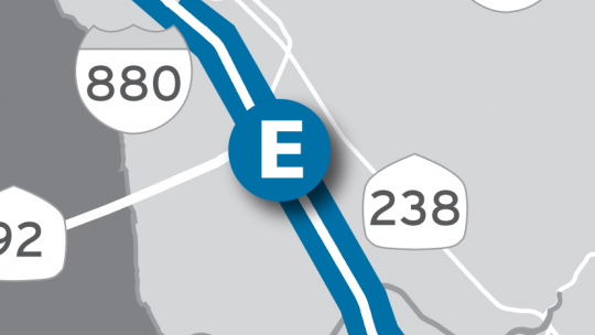 Location of I-880 Express Lanes on map