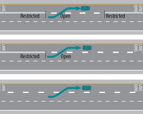 Schematic of lane striping